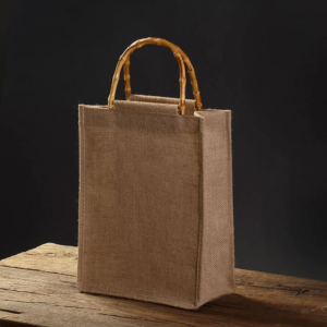 LINEN CANVAS SHOPPING BAG WITH BAMBOO HANDLE