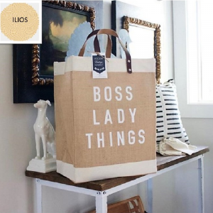 LINEN CANVAS SHOPPING BAG WITH LEATHER HANDLES